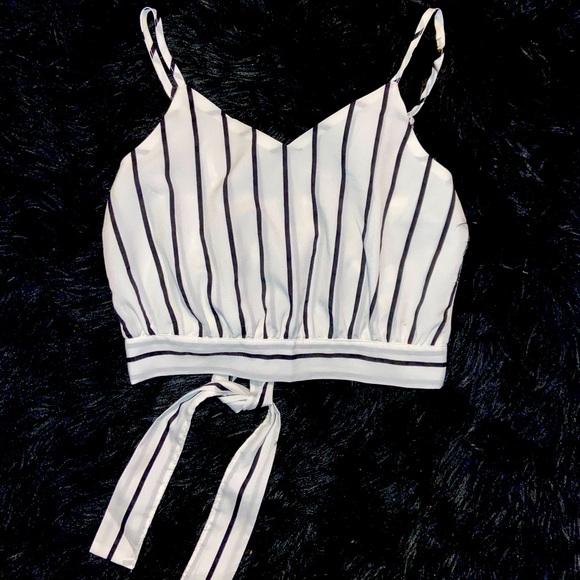 Ribbon Waist Pin Stripe Crop Top